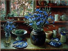 Painting titled 'Afternoon With Corn Flowers 1990' by artist Margaret Olley on exhibition at Art Gallery of New South Wales.