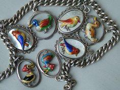 SUPERB VINTAGE ART DECO GERMAN SILVER ENAMEL BIRDS CHARM BRACELET - c1930's | Jewellery & Watches, Vintage & Antique Jewellery, Vintage Fine Jewellery | eBay!