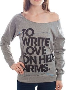 To Write Love On Her Arms Big Title design printed on a scoop neck heather gray sweatshirt for girls. $32
