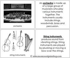 Orchestra Nomenclature Book - Printable Montessori Nomenclature for Montessori Learning at home and school.