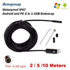 Armgroup Endoscope 7MM 2M 5M 10M Endoscope HD USB Android Endoscopio Camera Android Borescope USB Endoskop Inspection Camera