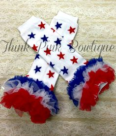 4th of July Red and Blue Star Leg Warmers with Red, White, and Blue Ruffles