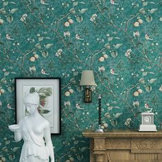 (39.98$)  Watch here  - Vintage Large Flower Bird Animal Wallpaper PVC Painting Art Print Wall Paper For Bedroom Wall Cover Green YELLOW COFFEE BLUE