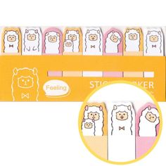 - Description - Details A pack of post it bookmark tabs made with an alpaca design on the top! It's made to look like you've got alpacas peeking out from your page when you use them! Super cute! Store