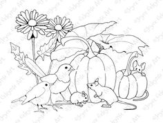 Hand Drawn Coloring Page Mice Birds in the by ToadstoolPrintables
