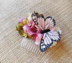 pink floral hair comb, bridal hair accessories, rustic wedding headpiece - JEMIMA - olive green, butterfly hairpiece, bridesmaid accessory