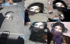 """Michael Jackson's new album """"Xscape"""", street art, June 2014 - In Southern California the Paseo Colorado shopping center 600 murals artist contained long on sidewalks in front of the murals created spectacular Xscape. This work was used in pastel and chalk to 25,000 units. Father's day so late last weekend saw this magnificent works of about 100 thousand visitors."""