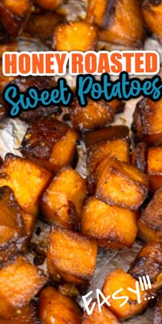 These savory and sweet honey roasted sweet potatoes are packed with flavors. #cheerfulcook #oven #healthy #easy #recipe #honey #best #salad #seasonal ♡ cheerfulcook.com Roasted Vegetable Recipes, Veggie Recipes, Vegetarian Recipes, Cooking Recipes, Healthy Recipes, Roasted Vegetables, Fall Recipes, Chicken Recipes, Dinner Recipes