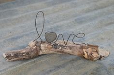 LOVE wire word and heart stone on driftwood by whimsyantiques on Etsy, $28.00