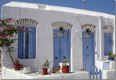 a house in Greece (The Best Exterior Trim Colours—NOT Cloud White White Exterior Houses, Exterior Trim, White Houses, Exterior Paint, Blue Houses, Greek Blue, House Of Turquoise, Dream Pools, House Doors