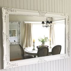 Bathroom Vanities Mirrors large nursery mirror, blue and white mirror, shabby chic home