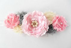 Love to make a sash like this for Bree  Pink Gray Maternity Sash  Maternity Belt Baby by simplycutieful, $27.50