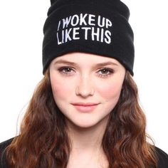 """""""I Woke Up Like This"""" Beanie in Black and White Condition: brand new, unworn and still in original packaging Material: acrylic Dimension: about 22 cm * 20 cm / 8.66"""" * 7.87"""" (one size fit most)  NOTE: this item is NOT from Urban Outfitters. Just tagged as UO for exposure purposes. Urban Outfitters Accessories Hats"""