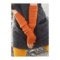 Armstulpen in Orange selber stricken mit einer Strickanleitung aus Rebecca- mein Strickmagazin und dem ggh-Garn WOLLYWASCH (100% Schurwolle superwasch). Garnpaket zu Modell 6 aus Rebecca Nr. 47