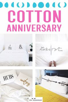 Super sweet cotton anniversary gifts for him! Your husband will love this unique gift for your 2 year anniversary. It's romantic, thoughtful, creative, and a great way to remember your wedding day! pillowcases are the perfect gift! Cotton Anniversary Gifts For Him, 2 Year Anniversary Gift, Anniversary Funny, Funny Wedding Gifts, Creative Wedding Gifts, Romantic Bedroom Decor, Diy Bedroom, Couple Pillowcase, Cotton Gifts