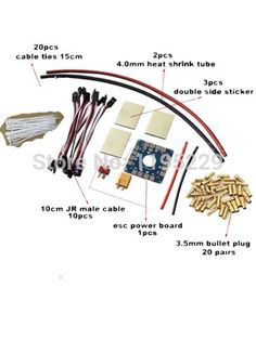 Multicopter DIY Parts 10CM JR Male Cable Tie 3.5mm Bullet Plug ESC Board Sticker