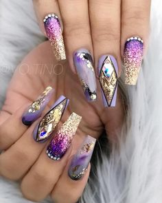Smokey glamz 💜 share with purple lover 💜 using joya mia, purchase info is Glam Nails, Fancy Nails, Bling Nails, Love Nails, My Nails, Fabulous Nails, Gorgeous Nails, Pretty Nails, Nailart
