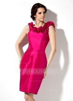 Sheath/Column Scoop Neck Knee-Length Flower(s) Zipper Up Regular Straps Sleeveless No Fuchsia Spring Summer Fall General Plus Taffeta Bridesmaid Dress
