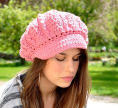 Crocheted Newsboy Hat - Pink Cotton Crochet Hat