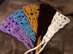 Crocheted hairbands.