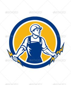 Electrician Holding Two Lightning Bolts Retro