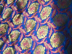 1 yard Silk Brocade Fabric - Pure Silk Fabric royal blue, Magenta and gold in small Floral pattern Weaving for Wedding Dress Fabric