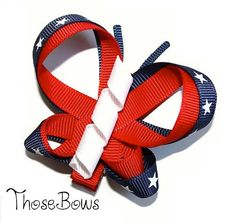 Patriotic 4th of July/Memorial day butterfly ribbon sculpture hair bow clippie