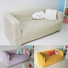 Ikea Huset doll sized couch cover - in stock now! by paperdollproductions on Etsy https://www.etsy.com/listing/169862590/ikea-huset-doll-sized-couch-cover-in