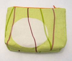 Bottom Flat Makeup bag Acid green cotton fabric Big by ShopF4m, $15.00
