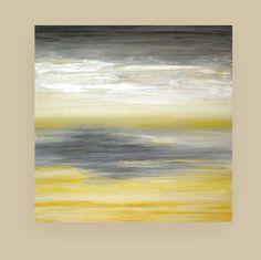 Art Painting Abstract Acrylic Yellow and Gray by OraBirenbaumArt