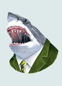 Great White Shark art print 5x7. $10.00, via Etsy.