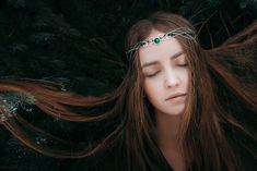 Forest princess Renaissance crown Green fairytales Silver elven tiara Wedding circlet Lord of the rings Woodland headpiece Gift for her Quinceanera Hairstyles, Fantasy Jewelry, Fantasy Art, Bridal Hair Vine, Medieval Fashion, Red Jewelry, Circlet, Valentines Jewelry, Wedding Sets
