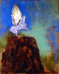 Odilon REDON 《Pégase, cheval sur le rocher》 《Pegasus, the Horse on the Rock》