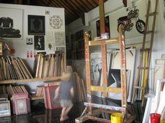 Studio of Andrew Wellman, nice canvas storage solution