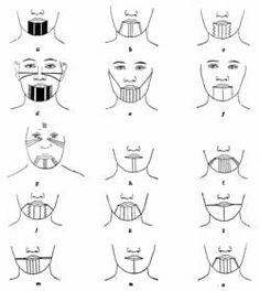 California Women's facial tattooing, ca. 1920. A) Yurok; B-C) Costanoan; D) Sinkyone; E-F) Maidu; G) Yuki; H-O) Chukchansi and Yokut.