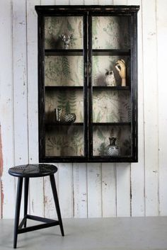 Absolutely covet this Wall Mounted Distressed Black Display Cabinet: don't miss the Botanical Lining inside. from Rockett St George Black Display Cabinet, Kitchen Display Cabinet, Wall Mounted Display Cabinets, Wall Display Case, Glass Shelves, Find Furniture, Upcycled Furniture, Painted Furniture, Furniture Projects