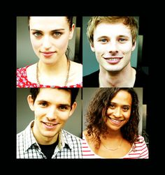 Merlin cast members as themselves! Top: Katie McGrath (Morgana) and Bradley James (Arthur)  Bottom: Colin Morgan (Merlin) and Angel Coulby (Gwen)