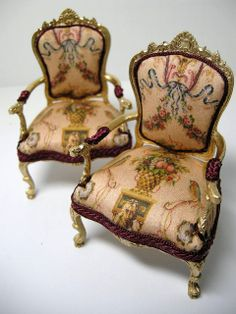 Repainted and reupholstered 1:12 Scale Dollhouse Armchairs