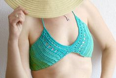 Festival crochet top Boho crochet top bra in turquoise by MarryG, $39.00
