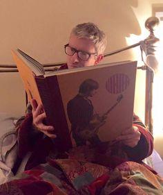 Martin reading in bed... in his Bilbo robe!