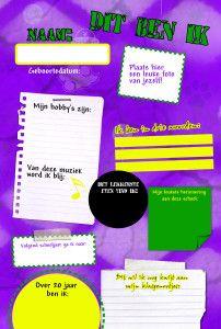 Een voorbeeld van hoe leerlingen eenvoudig hun persoonlijke pagina voor het afscheidsboekje kunnen opmaken!
