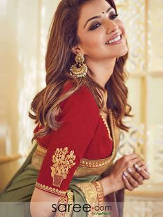 Kajal Aggarwal Green Silk Saree With Zari Embroidery Indian Wedding Outfits, Indian Outfits, Indian Designer Outfits, Designer Dresses, Indian Sarees, Silk Sarees, Lakme Fashion Week 2017, Kajal Agarwal Saree, Green Saree