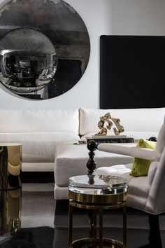 MODEL 54 SOFA and MIES side table in brass and acrylic by MICHAEL DAWKINS Sculpture by ALEXANDER KRIVOSHEIW