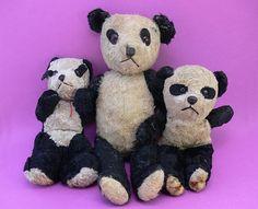 3 Antique Panda Teddy Bears