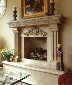 fireplace Fireplace Mantel Surrounds, Faux Fireplace, Fireplace Remodel, Fireplace Mantle, Living Room With Fireplace, Fireplace Design, Fireplaces, Limestone Fireplace, Fireplace Screens