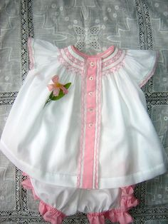 smocked diaper shirt~white Swiss pique and rhumba pants trimmed in pink microcheck and Swiss edging