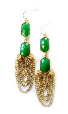 K. Amato Gold plated and Emerald Green Enamel Earrings, $40