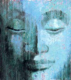 Blue Rain Buddha by Virginia Peck