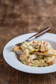 The quickest way to a 30 minute meal: chicken pot pie over toast. @dessertfortwo