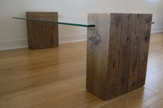 Reclaimed Wood and Glass Simple Coffee Table. by TicinoDesign